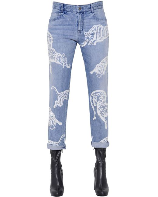 Stella McCartney | Blue Printed Organic Denim Jeans | Lyst