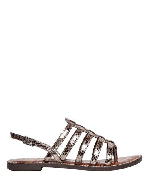 Sam Edelman - Brown 10mm Garland Embossed Leather Sandals - Lyst