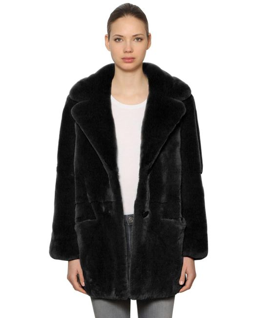 Yves Salomon - Gray Rex Rabbit Fur Coat - Lyst