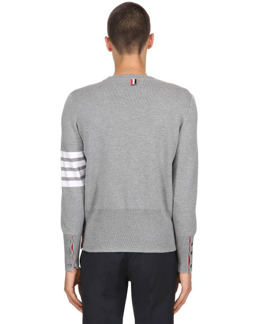 bfc52e74c6 ... Thom Browne - Gray Intarsia Stripes Wool Milan Knit Sweater for Men -  Lyst ...