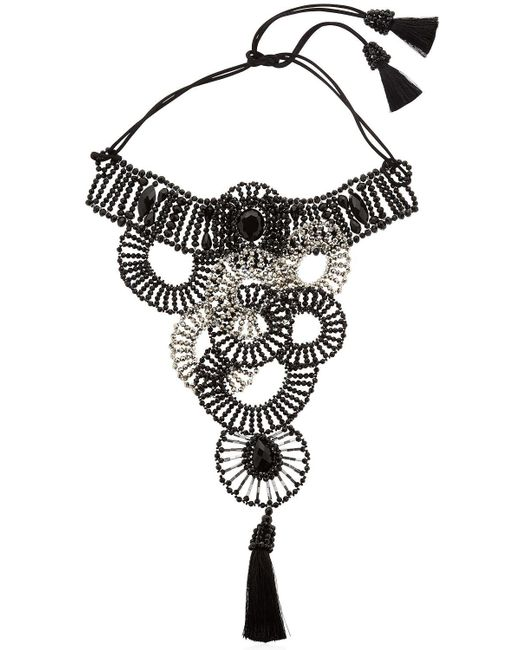 Night Market | Metallic Circle Bib Beaded Tassel Choker Necklace | Lyst