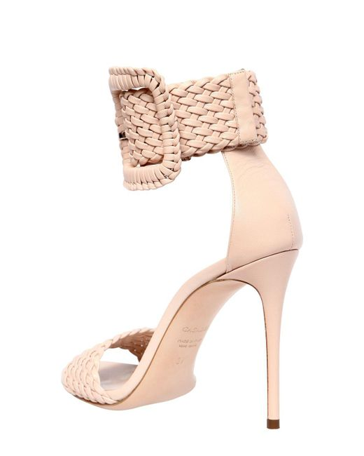 Casadei 100MM BUCKLED WOVEN LEATHER SANDALS nvXmYQ1G