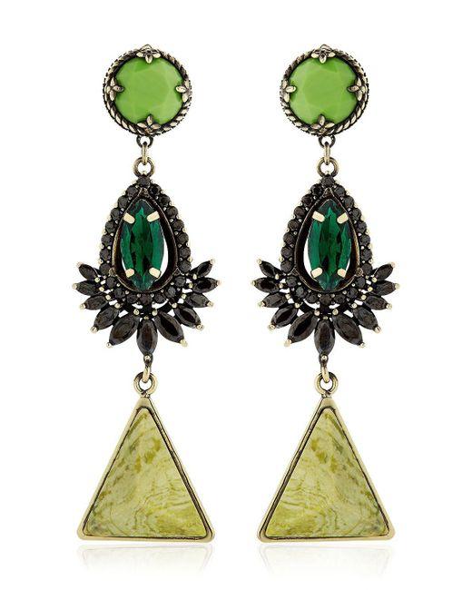 Iosselliani | Green Anubian Brass, Agate & Crystal Earrings | Lyst
