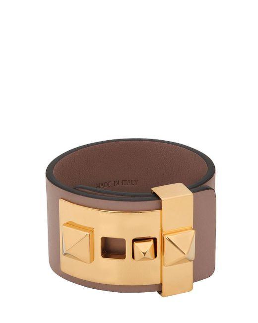 Valentino - Brown Rockstud Leather Cuff Bracelet - Lyst