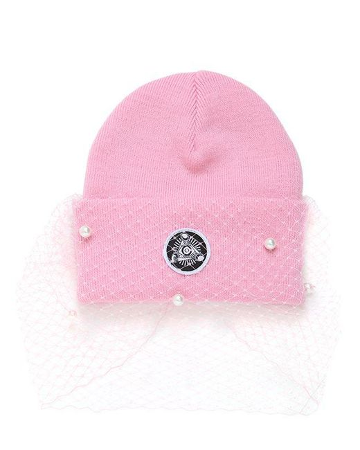 Silver Spoon Attire | Pink Beanie Hat With Veil & Bow | Lyst