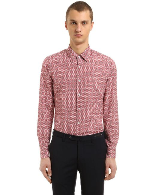 Prada - Multicolor Enges, Bedrucktes Hemd Aus Baumwollpopeline for Men - Lyst