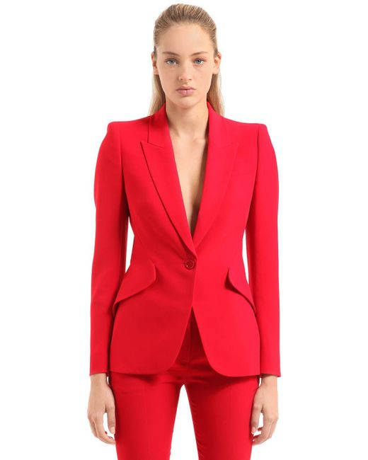 Alexander McQueen - Red One Button Leaf Crepe Jacket - Lyst