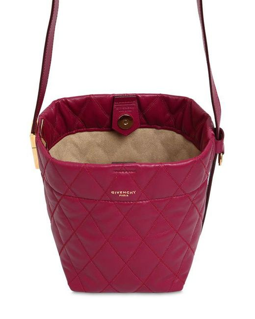 131fc37959cb ... Givenchy - Purple Mini Gv Quilted Leather Bucket Bag - Lyst ...