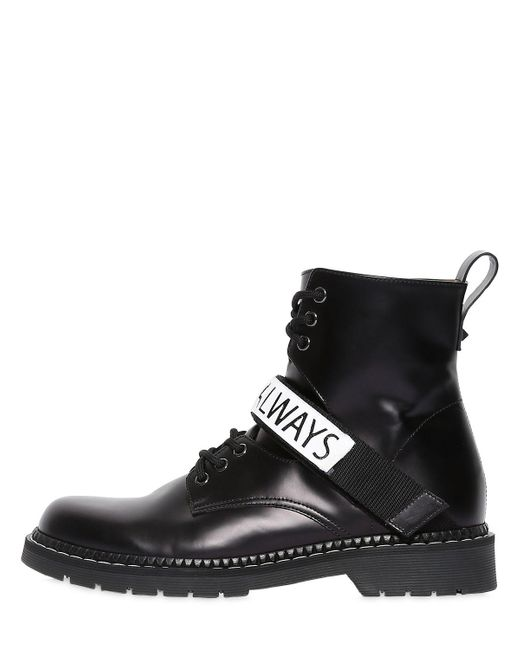 ... Valentino - Black Always Leather Lace-up Boots for Men - Lyst ...