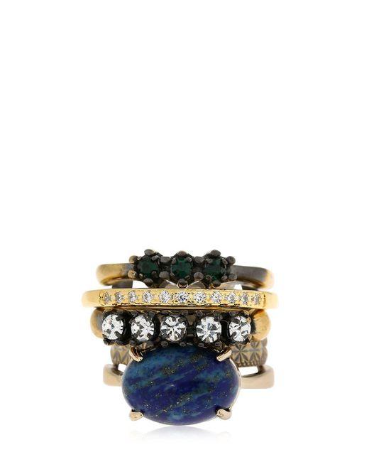 Iosselliani - Multicolor Set Of 5 Rings W/ Lapis Lazuli - Lyst