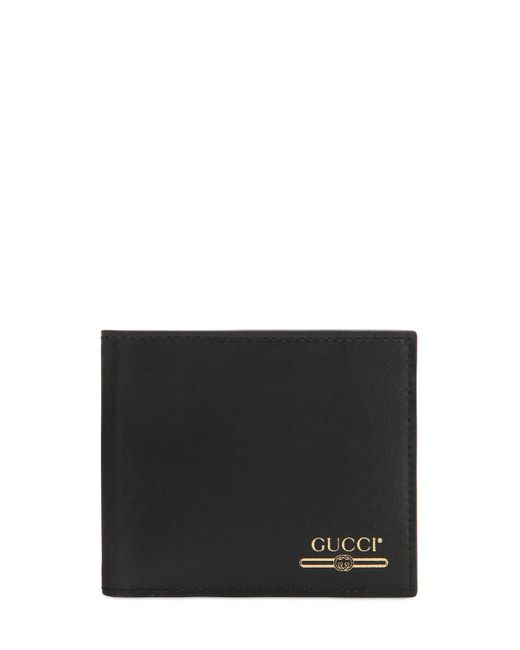 72133997a9cc Gucci - Black Logo Leather Wallet for Men - Lyst ...
