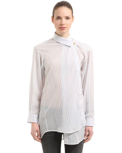 Balenciaga - White Pulled Pinstripe Jacquard Shirt - Lyst