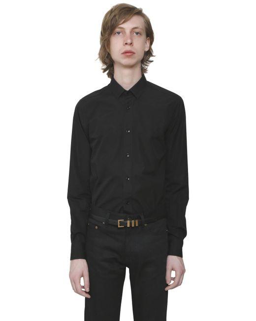 Saint Laurent - Black Cotton Poplin Shirt for Men - Lyst