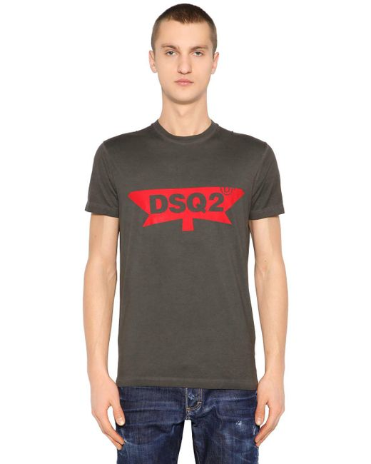 DSquared² - Gray Dsq2 Printed Cotton Jersey T-shirt for Men - Lyst