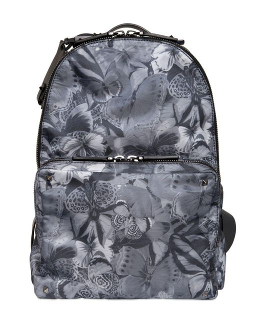 Valentino - Gray Butterfly Printed Nylon Backpack for Men - Lyst