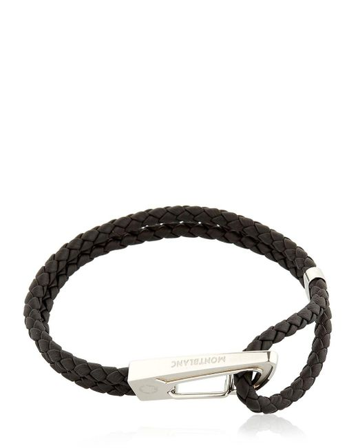 Montblanc - Black Steel & Leather Bracelet - Lyst