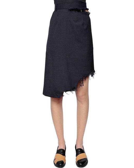 Facetasm - Blue Asymmetrical Pinstriped Wool Skirt - Lyst