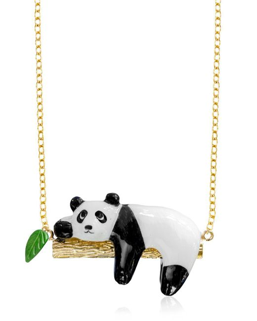 Nach | Multicolor Panda On A Branch Necklace | Lyst