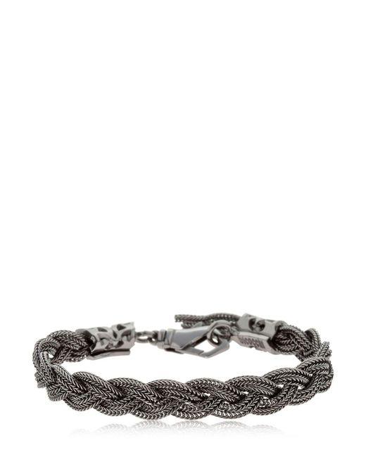 Emanuele Bicocchi - Black Braided Silver Chain Bracelet for Men - Lyst