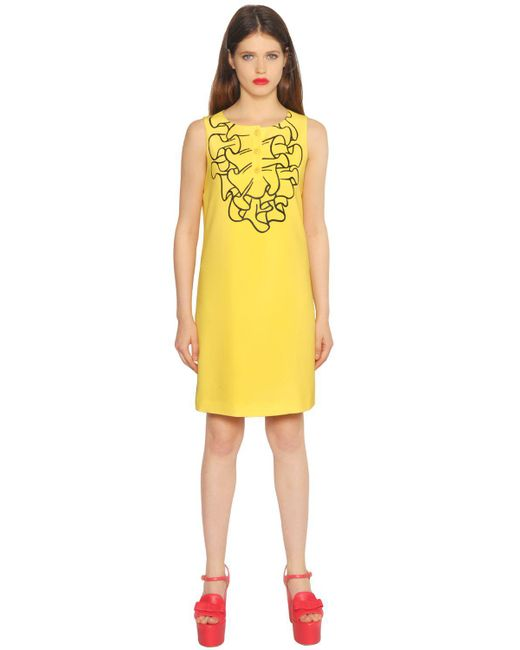 Boutique Moschino | Black Printed Ruffle Techno Cady Dress | Lyst