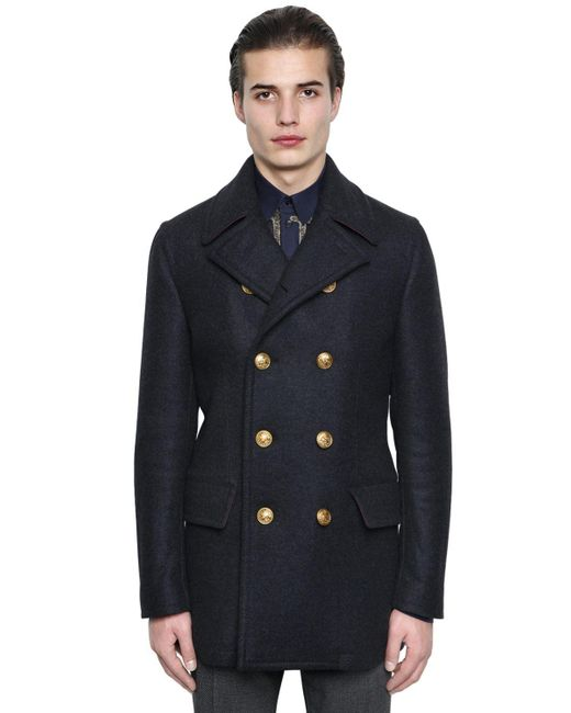 Dolce & Gabbana | Gray Wool Cashmere Cloth Pea Coat for Men | Lyst