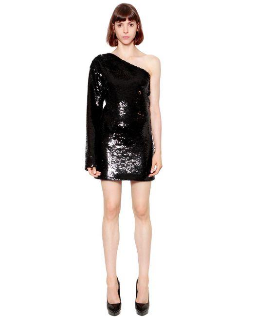RTA - Black Sequined One Sleeve Dress - Lyst