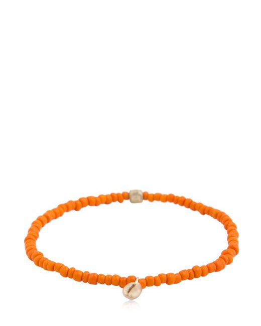 Luis Morais - Orange Shell Charm & Striped Beaded Bracelet - Lyst