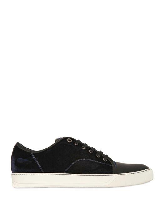 Lanvin | Blue Velvet & Rubberized Leather Sneakers for Men | Lyst