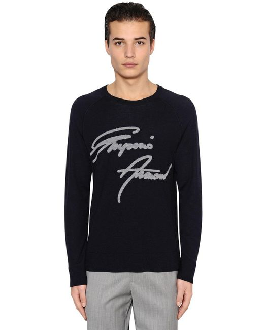 Emporio Armani | Blue Signature Wool Jacquard Sweater for Men | Lyst