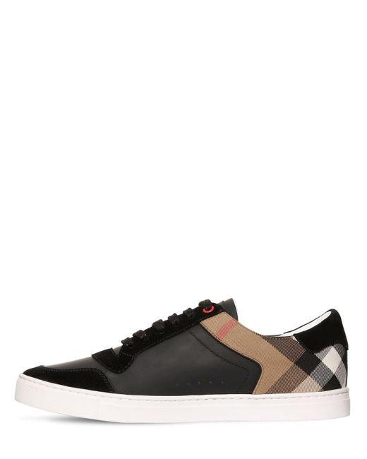 ab96e6da61d6b ... Lyst Burberry - Black Newport Check Canvas & Leather Sneakers for Men  ...