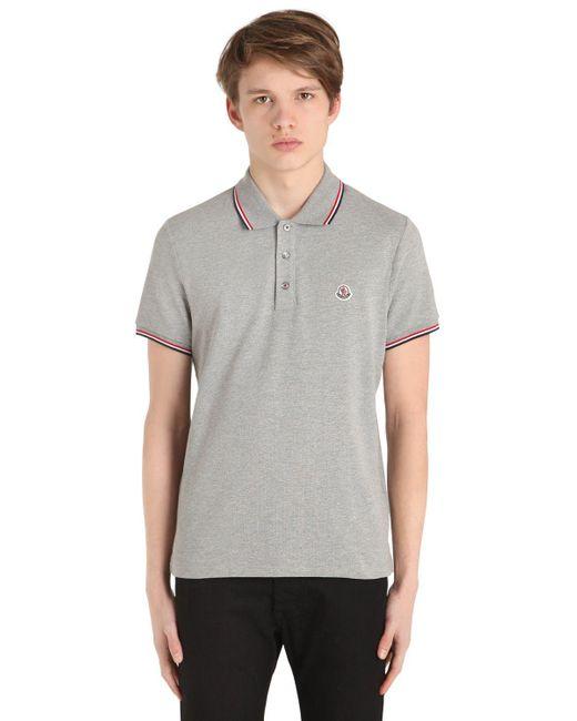 Moncler - Gray Logo Stripes Cotton Piqué Polo Shirt for Men - Lyst