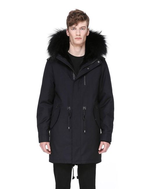 Mackage Moritz-f Flannel Parka With Fur Lined Hood in Blue for Men ...