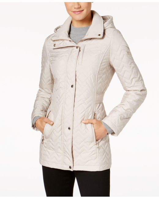 Calvin Klein | Natural Hooded Chevron Quilted Coat | Lyst