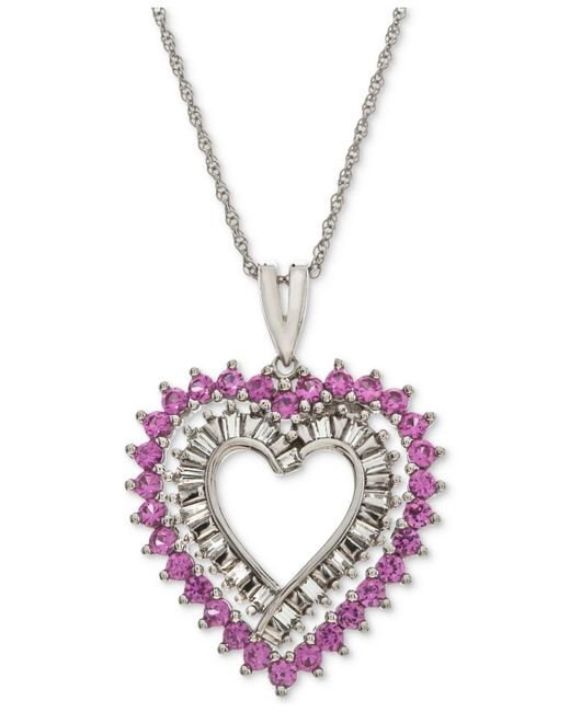 Macy's - Lab-created Pink Sapphire (1 Ct. T.w.) & White Sapphire Accent Heart Pendant Necklace In Sterling Silver - Lyst