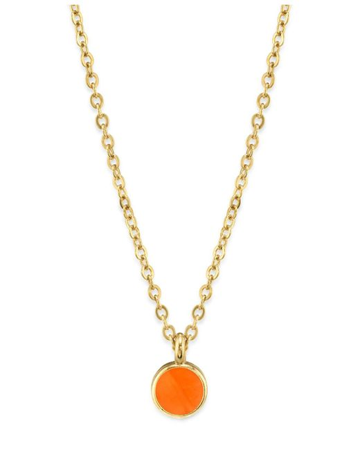 """2028 - Orange 14k Gold Dipped Small Round Enamel Necklace 16"""" - Lyst"""