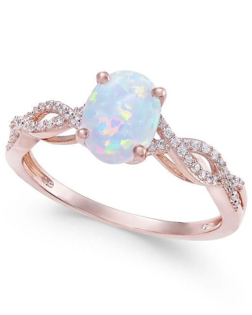 Macy's - Metallic Opal (3/4 Ct. T.w.) & Diamond (1/8 Ct. T.w.) Ring In 14k Rose Gold - Lyst