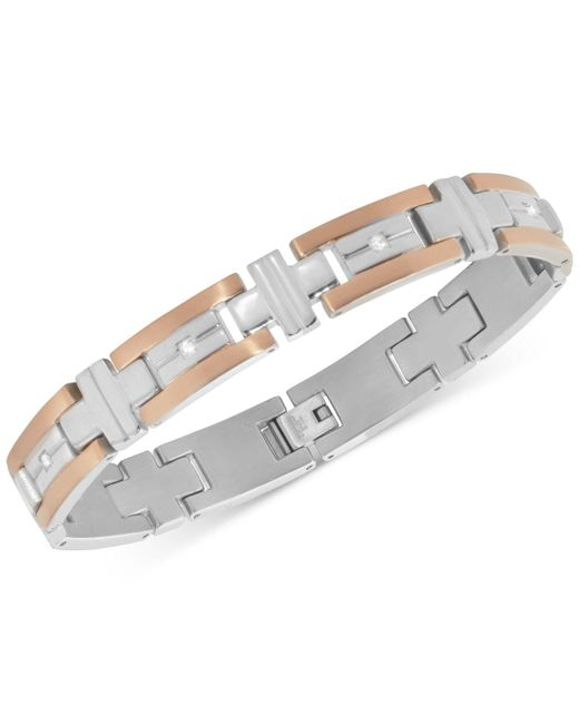Macy's | Metallic Men's Diamond Two-tone Bracelet (1/10 Ct. T.w.) In Stainless Steel And Rose Gold Ion-plated Stainless Steel for Men | Lyst