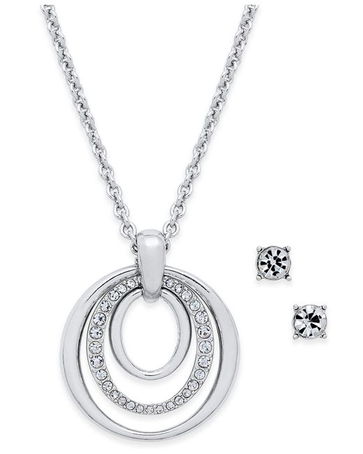 Charter Club - Metallic Pavé Pendant Necklace & Crystal Stud Earrings Set - Lyst