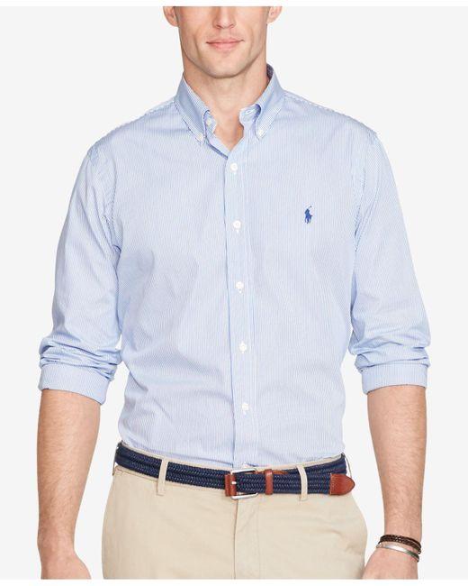 Polo Ralph Lauren | Blue Hairline-striped Poplin Shirt for Men | Lyst