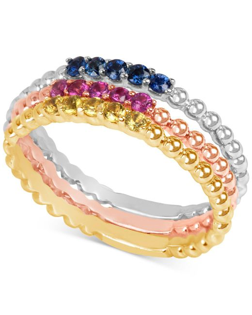 Macy's - Metallic Multi-sapphire (1/8 Ct. T.w.) Tri-tone 3-pc. Set Stacking Rings In 14k White, Yellow, And Rose Gold - Lyst