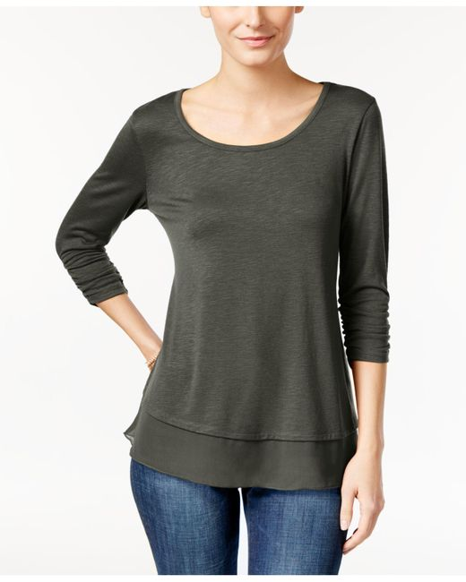 Style & Co. - Gray Chiffon-hem Three-quarter-sleeve Top - Lyst