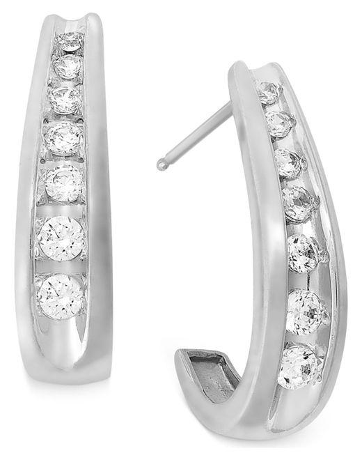 Macy's   Channel-set Diamond J Hoop Earrings In 14k White Gold (1/2 Ct. T.w.)   Lyst
