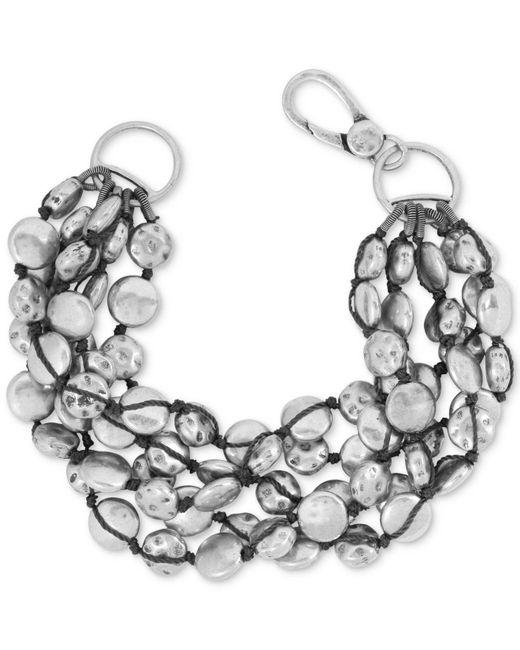 Lucky Brand - Metallic Bracelet, Silver-tone Coin Bracelet - Lyst
