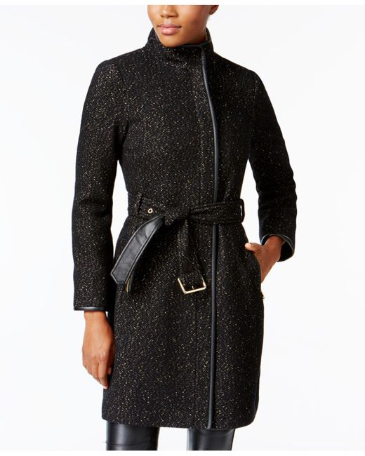 Vince Camuto | Black Faux-leather-trim Textured Walker Coat | Lyst