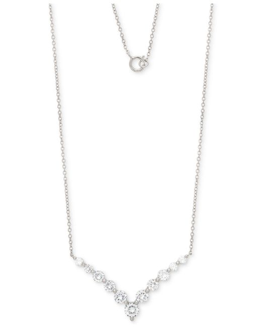 """Giani Bernini - Metallic Cubic Zirconia Chevron 18"""" Pendant Necklace In Sterling Silver, Created For Macy's - Lyst"""
