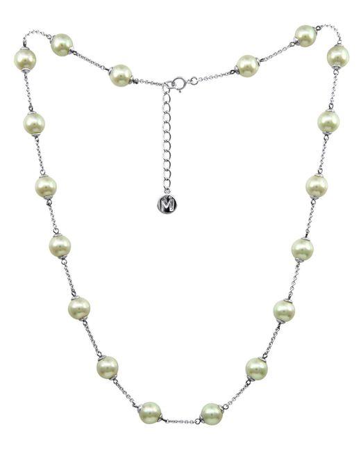 Majorica | Metallic Sterling Silver Necklace, Imitation Pearl Illusion | Lyst