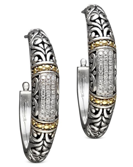 Effy Collection - Metallic Diamond Hoop Earrings (1/4 Ct. T.w.) In 18k Gold And Sterling Silver - Lyst