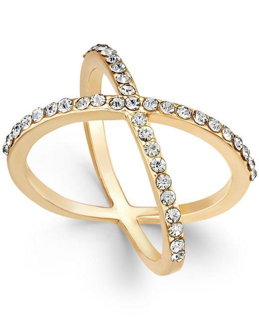 INC International Concepts | Metallic Rose Gold-tone Criss Cross Rhinestone Ring | Lyst