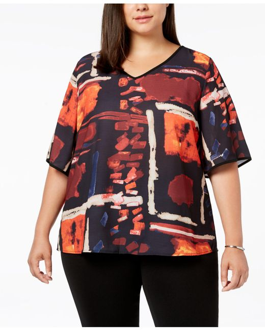Joseph A - Red Plus Size Printed V-neck Top - Lyst