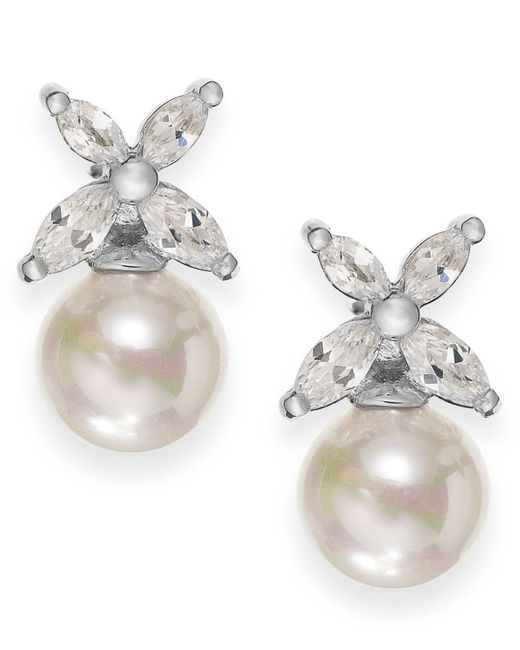 Majorica - Metallic Sterling Silver Organic Man-made Pearl Butterfly Stud Earrings - Lyst